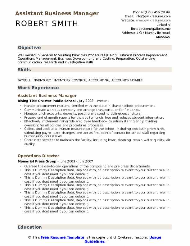 assistant business manager resume samples qwikresume pdf play create without job Resume Business Manager Resume