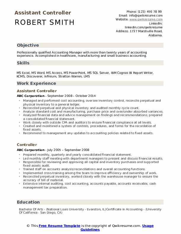 assistant controller resume samples qwikresume template word pdf functional Resume Controller Resume Template Word
