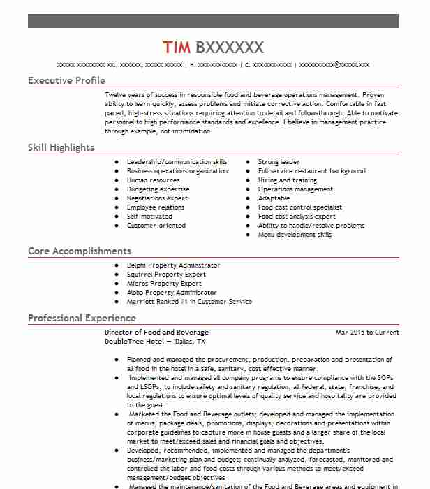 assistant director of food and beverage resume example great wolf lodge birmingham sample Resume Food And Beverage Director Resume Sample