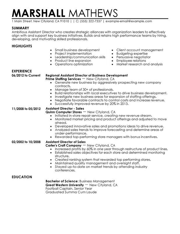 assistant director resume examples created by pros myperfectresume of development Resume Director Of Development Resume