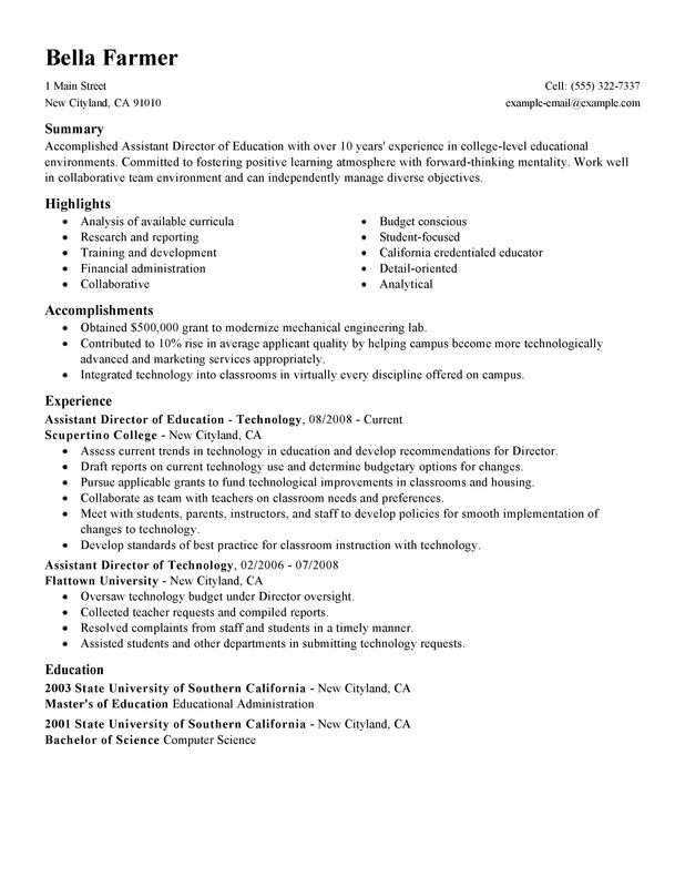 assistant education director resume examples created by pros myperfectresume samples Resume Director Resume Samples