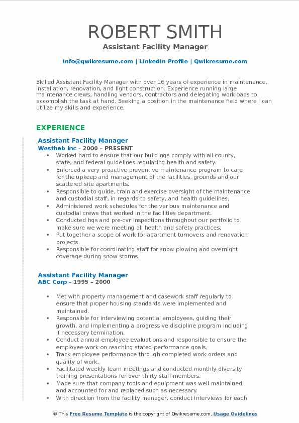 assistant facility manager resume samples qwikresume job description pdf well organized Resume Facility Manager Job Description Resume