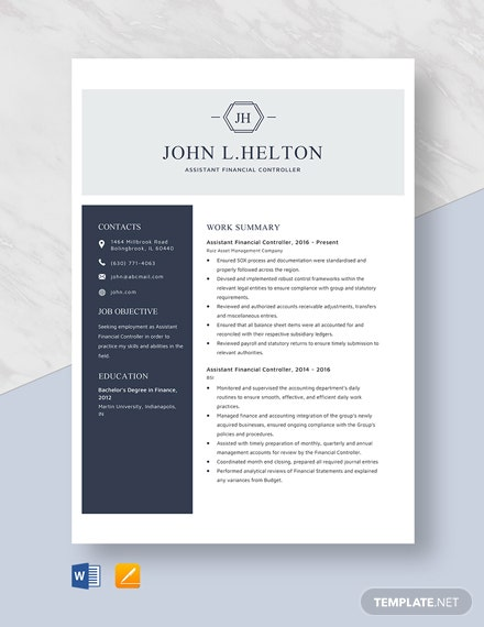 assistant financial controller resume cv template word apple mac icu rn sample help cost Resume Controller Resume Template Word