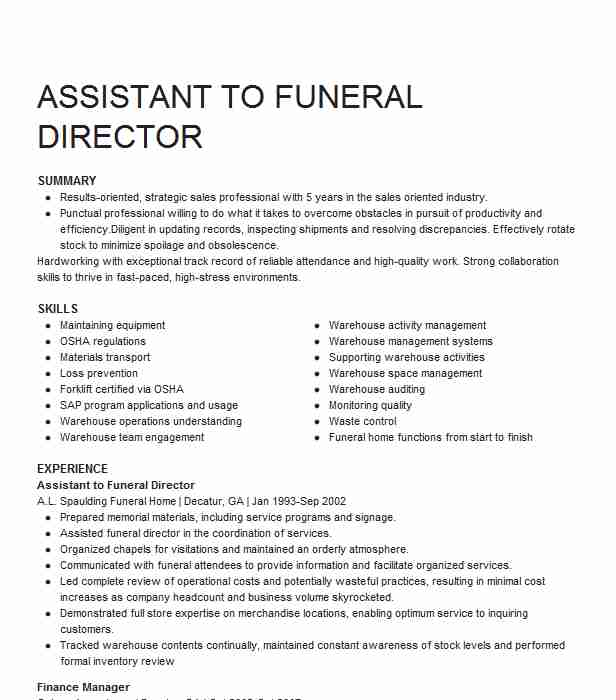 assistant funeral director resume example stuart mortuary indianapolis fancy templates Resume Funeral Director Resume