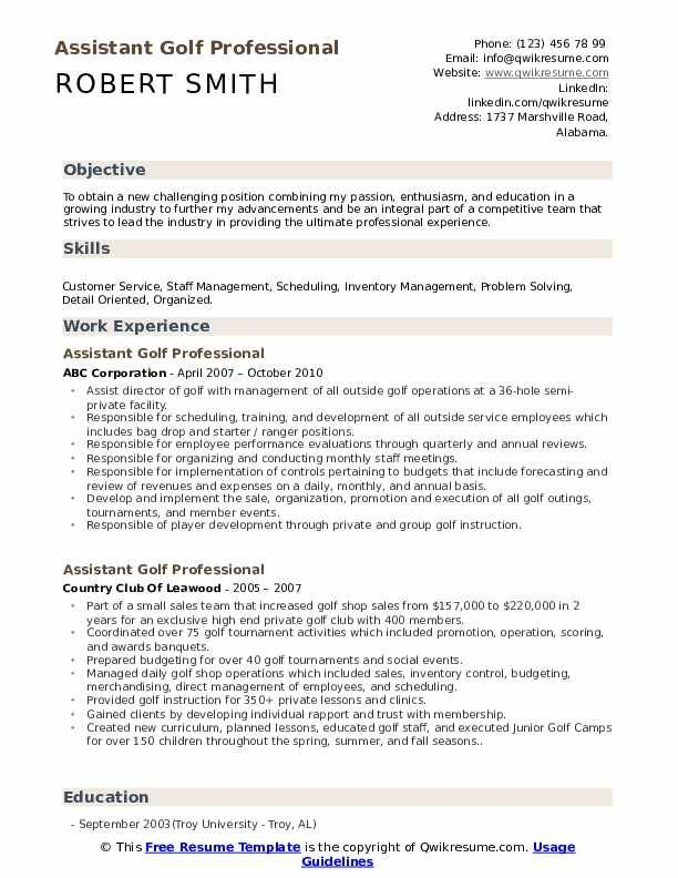 assistant golf professional resume samples qwikresume examples caddie job description for Resume Caddie Job Description For Resume