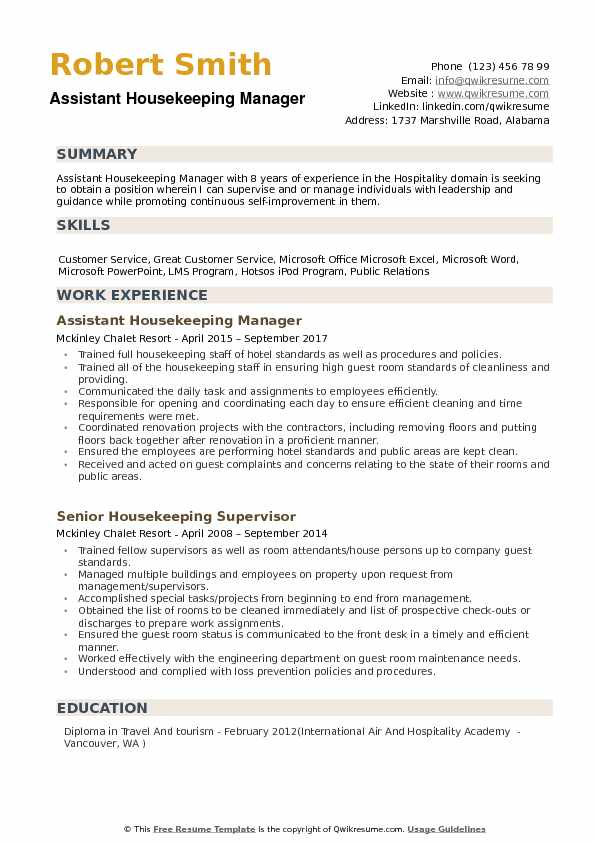 assistant housekeeping manager resume samples qwikresume executive housekeeper job Resume Executive Housekeeper Job Description Resume