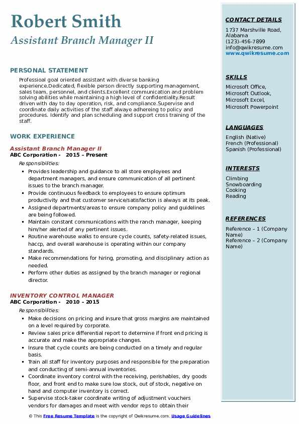 assistant manager resume samples qwikresume credit pdf correctional officer Resume Credit Union Branch Manager Resume