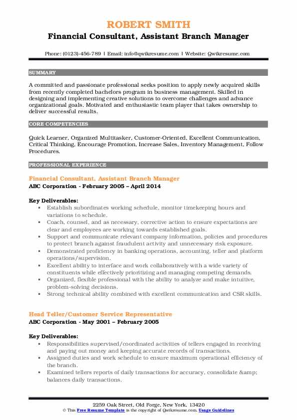assistant manager resume samples qwikresume credit pdf examples for fashion merchandising Resume Credit Union Branch Manager Resume