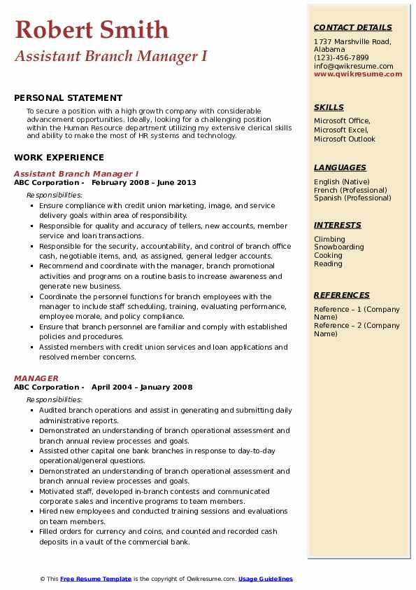 assistant manager resume samples qwikresume credit pdf full cycle accounts payable for Resume Credit Union Branch Manager Resume