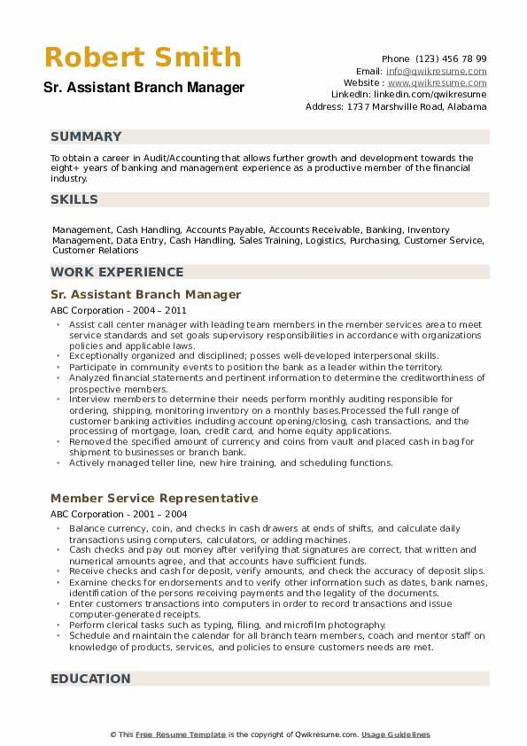 assistant manager resume samples qwikresume credit pdf professional writing service cost Resume Credit Union Branch Manager Resume