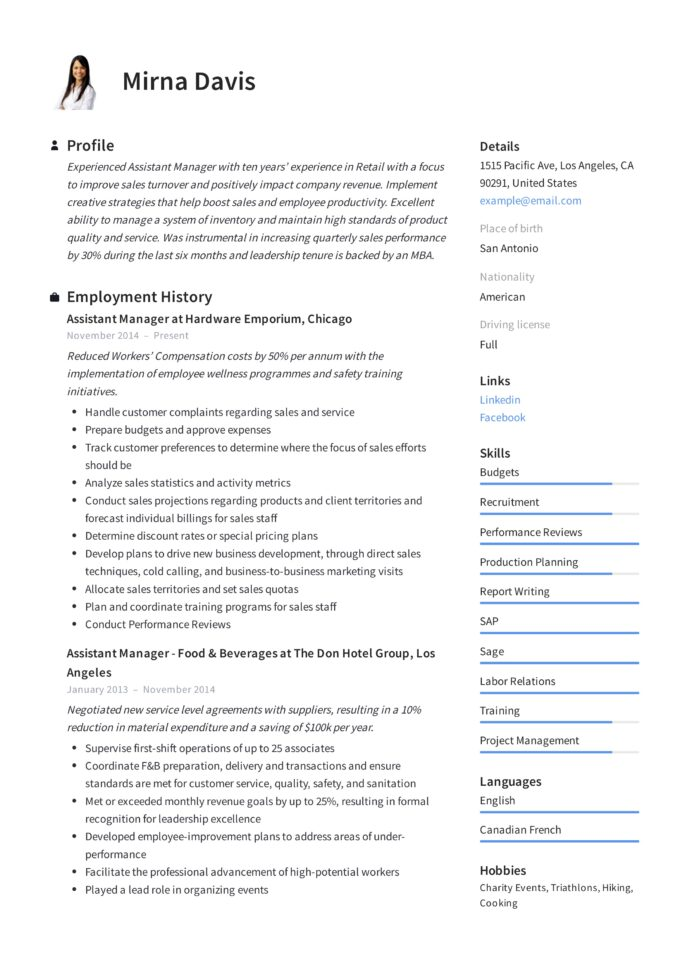 assistant manager resume writing guide samples pdf skills mirna prior authorization Resume Assistant Manager Skills Resume