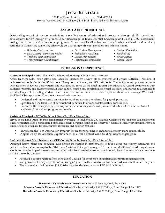 assistant principal resume sample free example education teacher examples objective for Resume Objective For Assistant Principal Resume