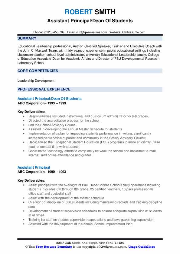 assistant principal resume samples qwikresume objective for pdf freesumes date format Resume Objective For Assistant Principal Resume