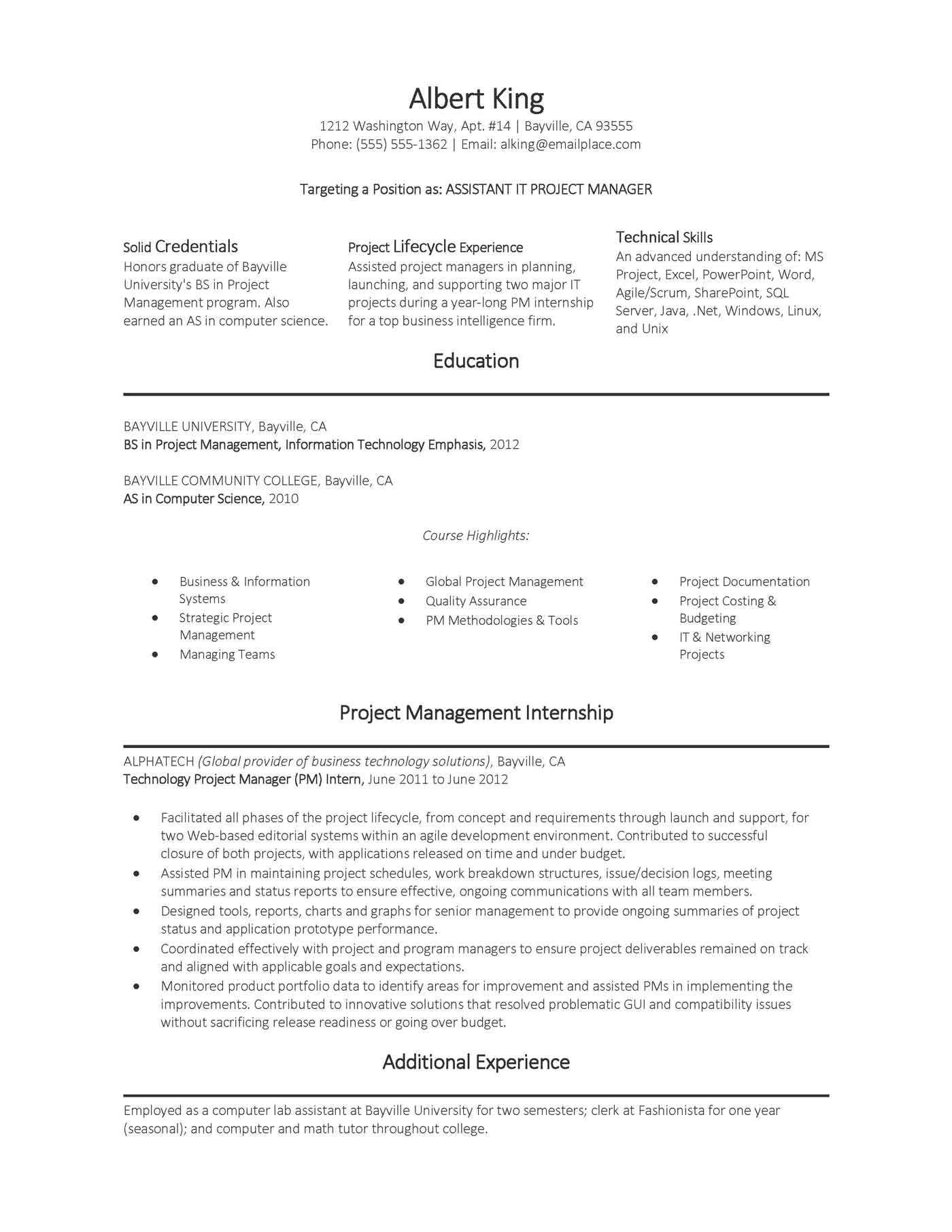 assistant project management resume samples manager construction it program sample simple Resume Assistant Project Manager Construction Resume