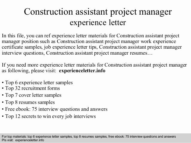 assistant project manager resume inspirational construction experience lette management Resume Assistant Project Manager Resume Cover Letter