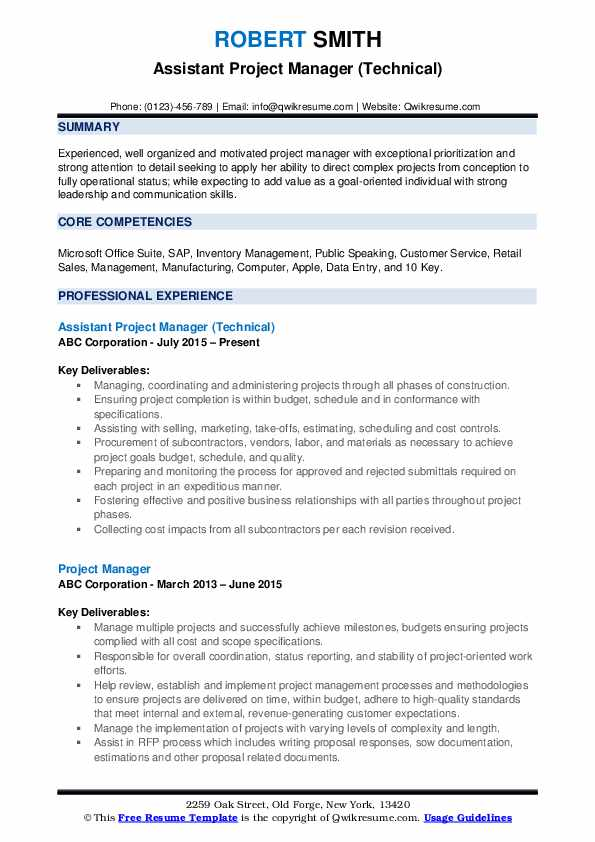 assistant project manager resume samples qwikresume construction pdf general objective Resume Assistant Project Manager Construction Resume
