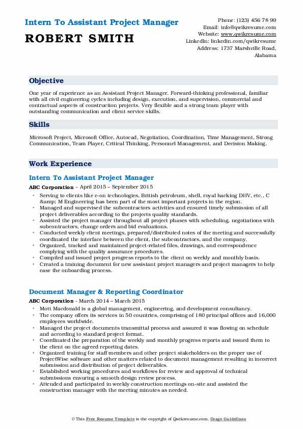 assistant project manager resume samples qwikresume sample pdf template skills on for Resume Assistant Project Manager Resume Sample