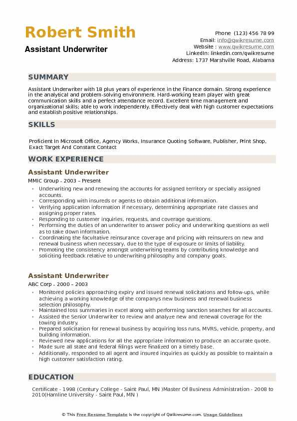 assistant underwriter resume samples qwikresume commercial examples pdf for school Resume Commercial Underwriter Resume Examples