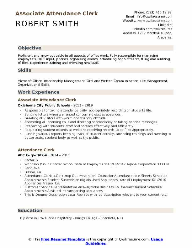 attendance clerk resume samples qwikresume pdf barista objective examples best and cover Resume Attendance Clerk Resume