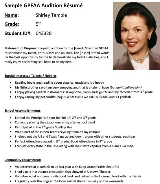 auditions vocal music audition resume and headshot gpfaa sample student objective college Resume Audition Resume And Headshot