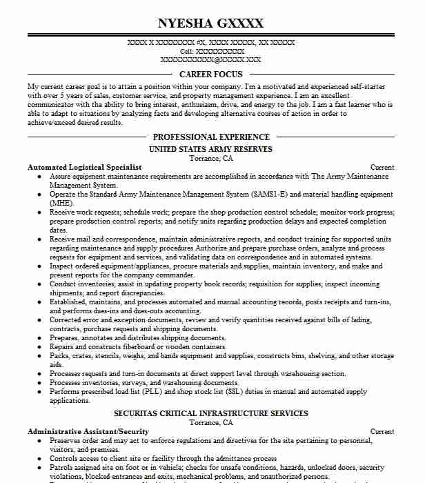automated logistical specialist resume example army fort leonard hbs template private Resume Automated Logistical Specialist Resume