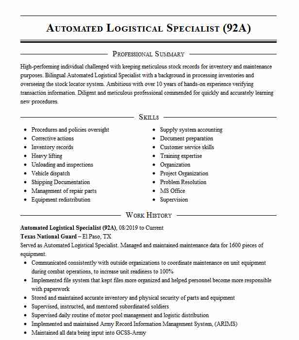 automated logistical specialist resume example army killeen sample for sap fico Resume Automated Logistical Specialist Resume