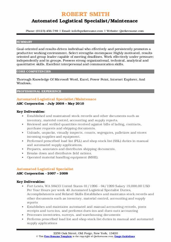 automated logistical specialist resume samples qwikresume pdf introduction examples hbs Resume Automated Logistical Specialist Resume