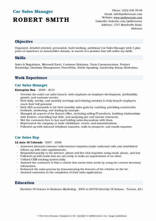 automobile manager resume best of car representative samples auto salesperson dietary Resume Auto Salesperson Resume