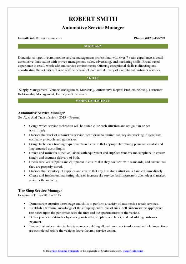 automotive service manager resume samples qwikresume example pdf itsm win from Resume Automotive Manager Resume Example