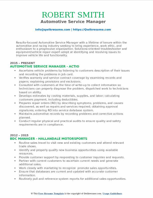 automotive service manager resume samples qwikresume example pdf worker latex template Resume Automotive Manager Resume Example