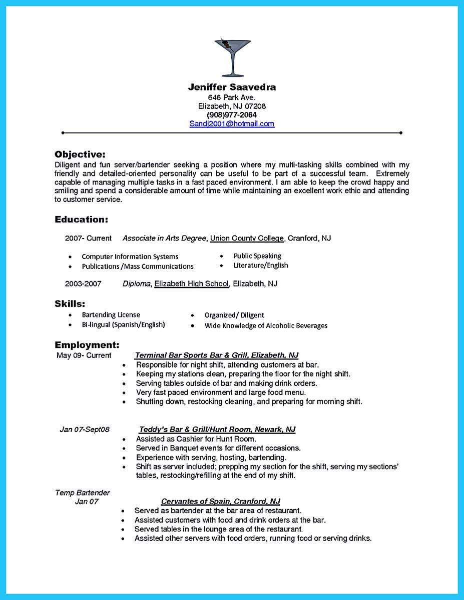 awesome everything you must put onto your impressive bartenders resume server objective Resume Bartender Skills And Qualities Resume