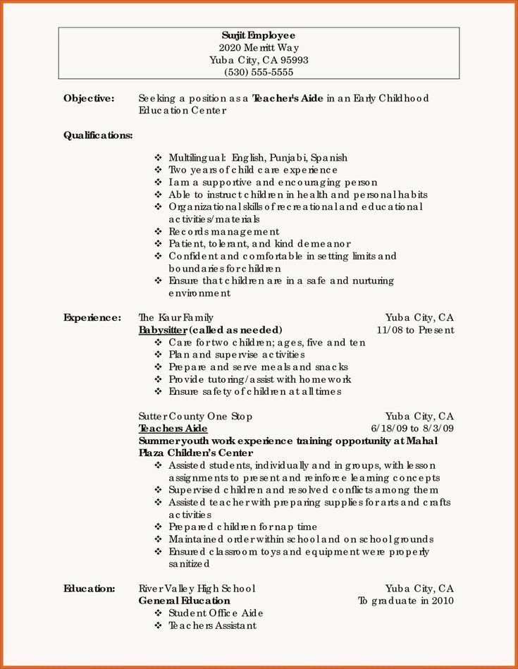 babysitter synonym for resume lovely inspirational teacher examples education template Resume Babysitter Synonym For Resume