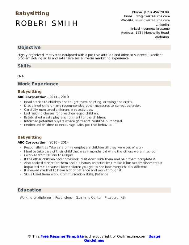 babysitting resume samples qwikresume nanny objective example pdf education layout on aml Resume Nanny Objective Resume Example