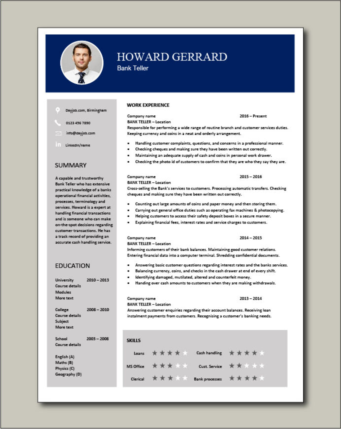 bank resume example sample template job description banking cash handling accounts Resume Another Word For Responsible On Resume