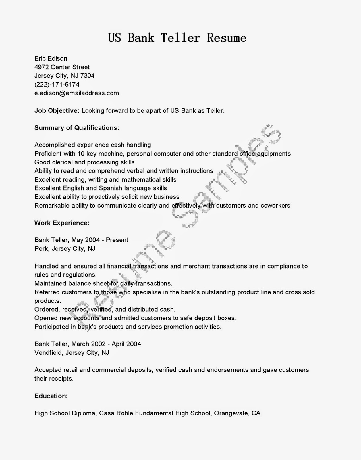 bank resume examples best objective us intel cctv technician word headshot business Resume Teller Resume Objective