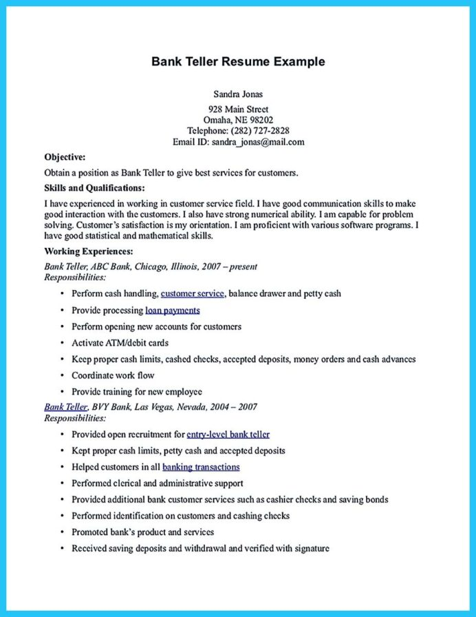 bank resume objectives cute766 objective banking examples samples and example fedex Resume Teller Resume Objective