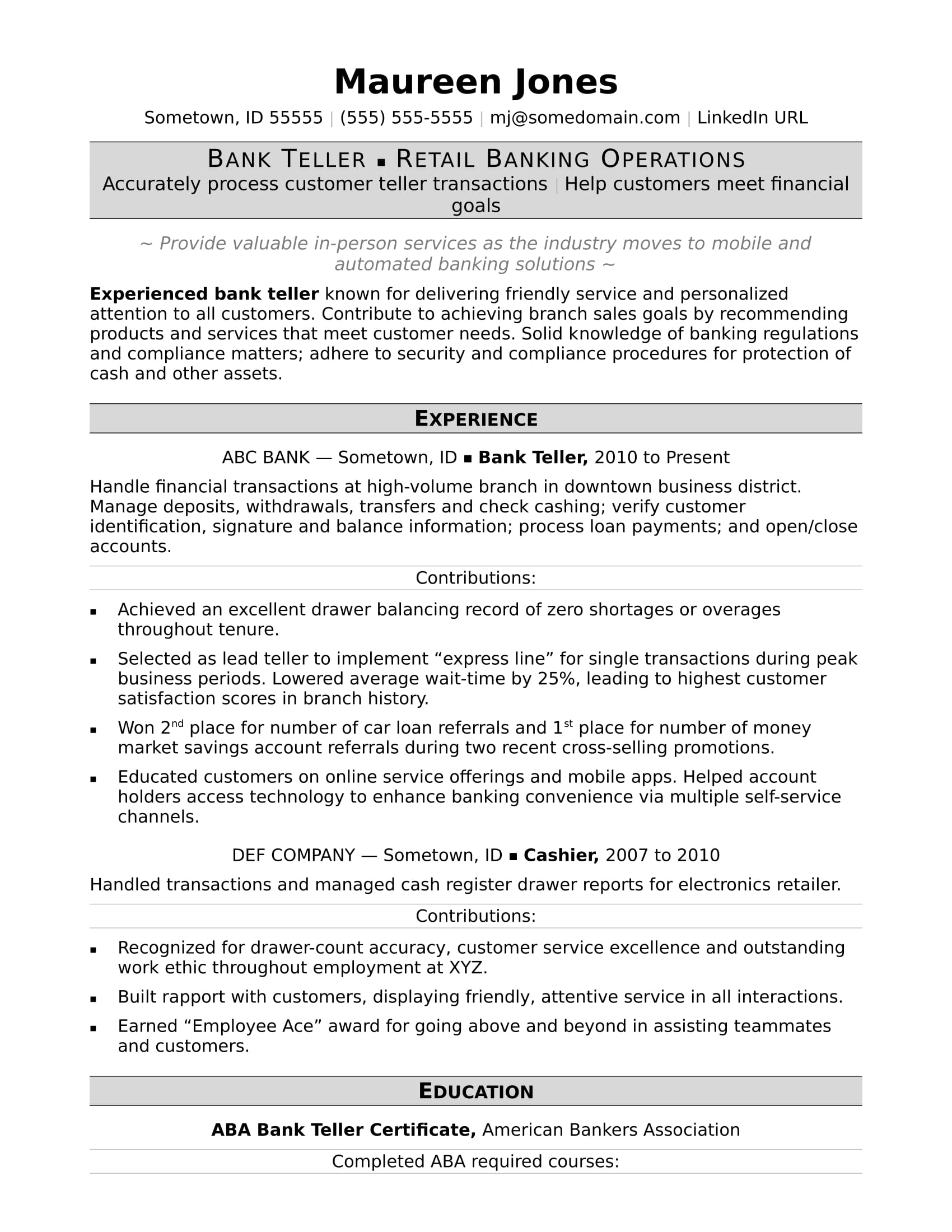 bank resume sample monster objective bankteller contemporary modern template professional Resume Teller Resume Objective