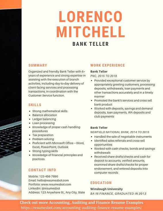 bank resume samples and tips pdf resumes bot sample for position example telephone Resume Sample Resume For Teller Position