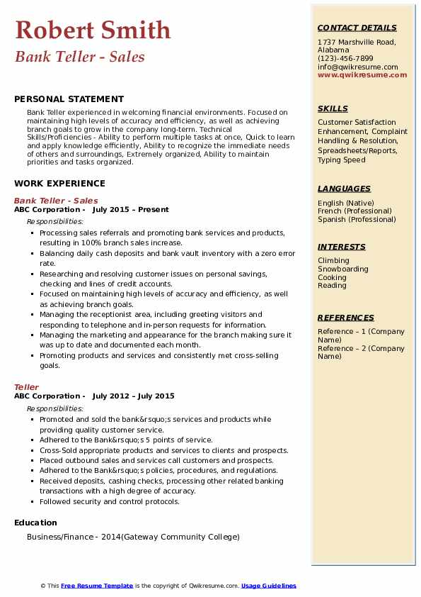 bank resume samples qwikresume description pdf for ngo job free hosting train Resume Bank Teller Resume Description