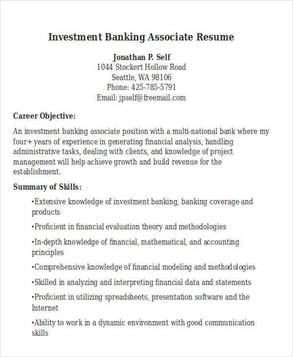 banking resume templates pdf free premium investment template associate resume1 perfect Resume Investment Banking Resume Template