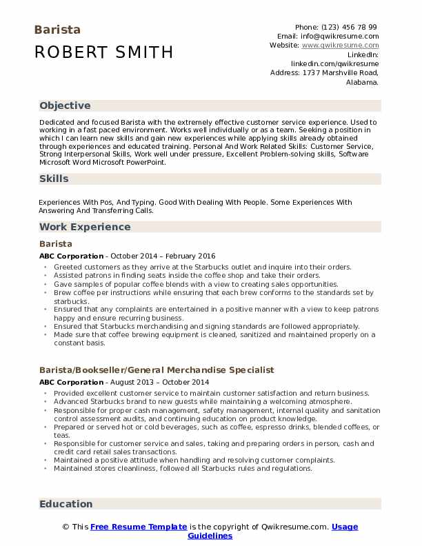 barista resume samples qwikresume objective examples pdf fake awards for tips creating Resume Barista Objective Resume Examples