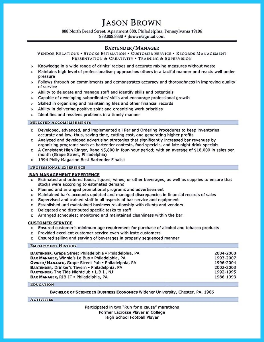 bartendending responsibilities resume sample and bartending with no experience example Resume Bartender Duties Resume Example
