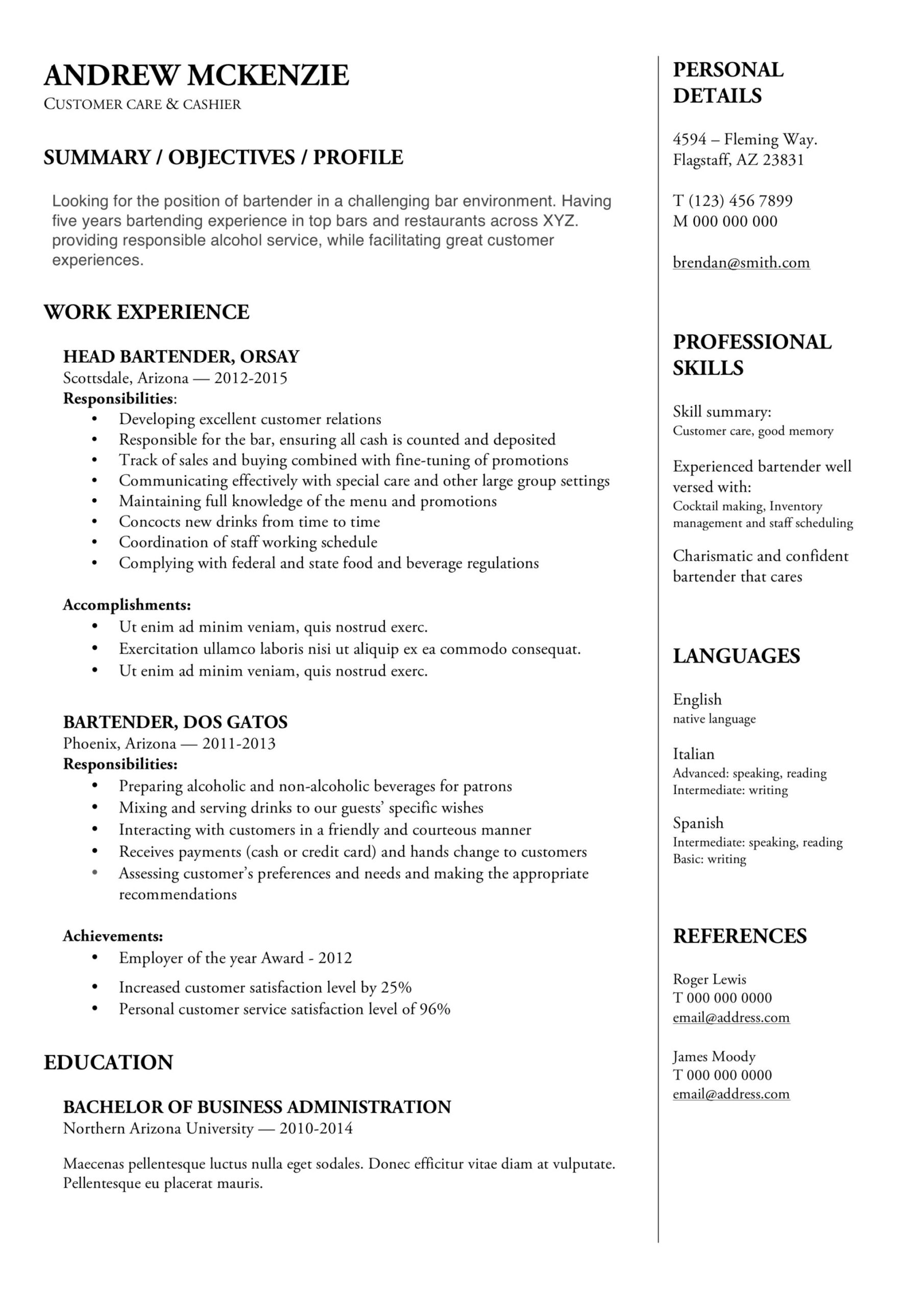 bartender resume guide example downloads pdf word template sample free instant review Resume Bartender Resume Template