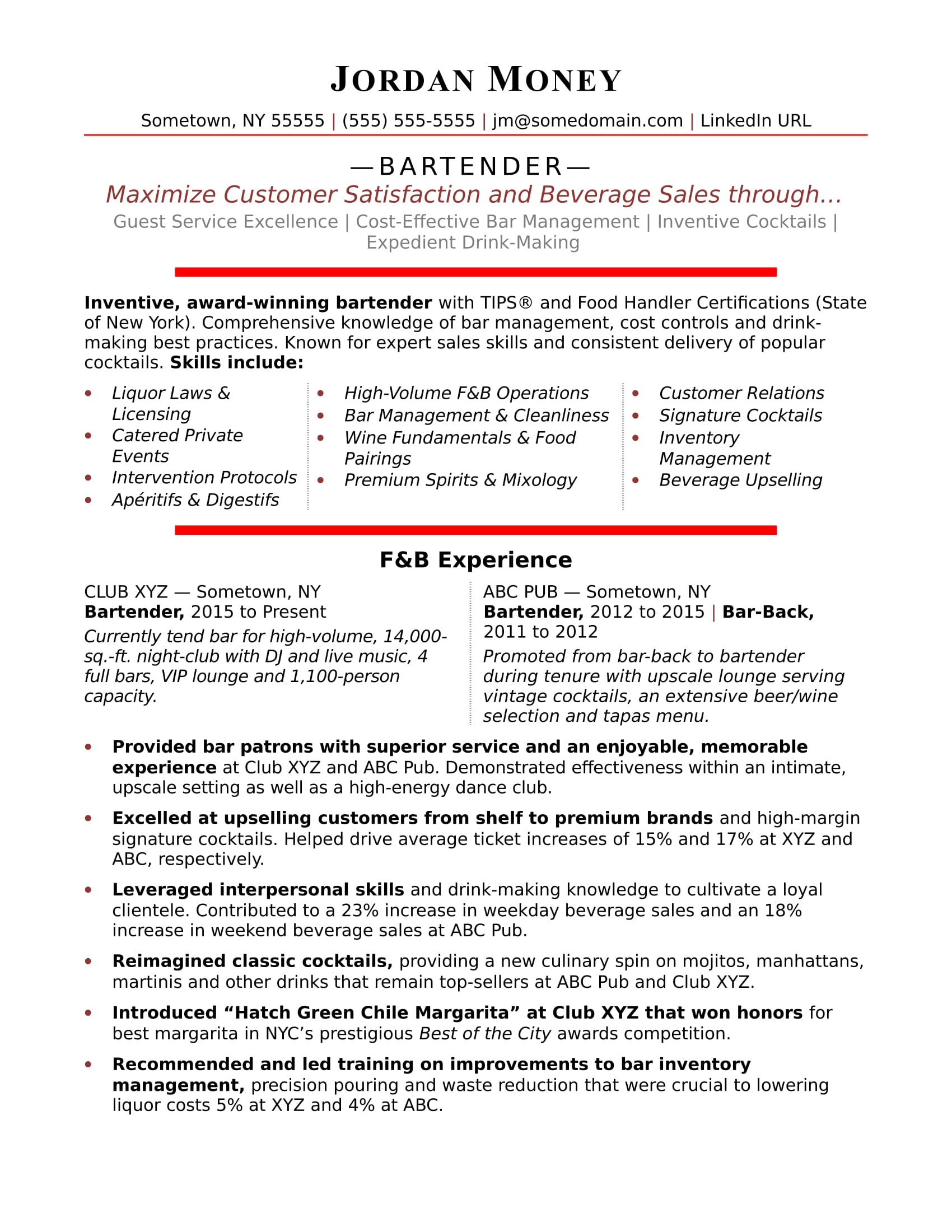 bartender resume sample monster template generic summary statement mortgage format Resume Bartender Resume Template