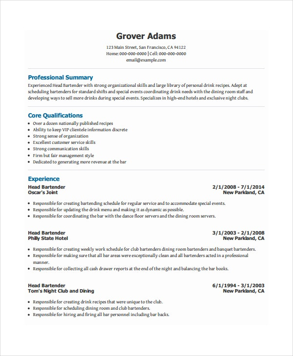 bartender resume template free word pdf document downloads premium templates head Resume Bartender Resume Template