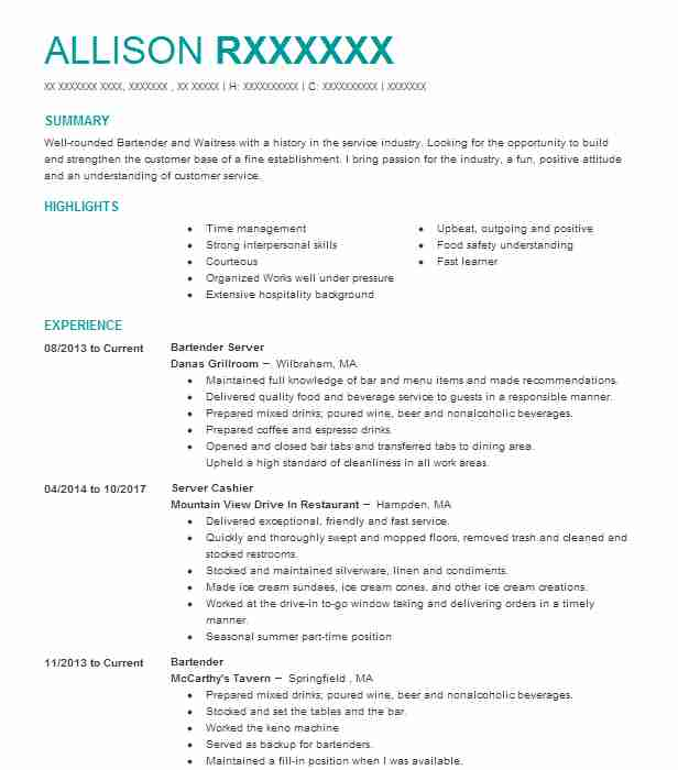 bartender server resume example resumes livecareer duties dcs cota cover letter with Resume Bartender Duties Resume Example