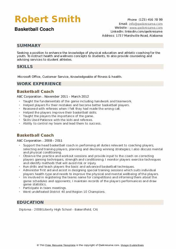 basketball coach resume samples qwikresume head pdf microsoft engineer tips medical Resume Head Basketball Coach Resume