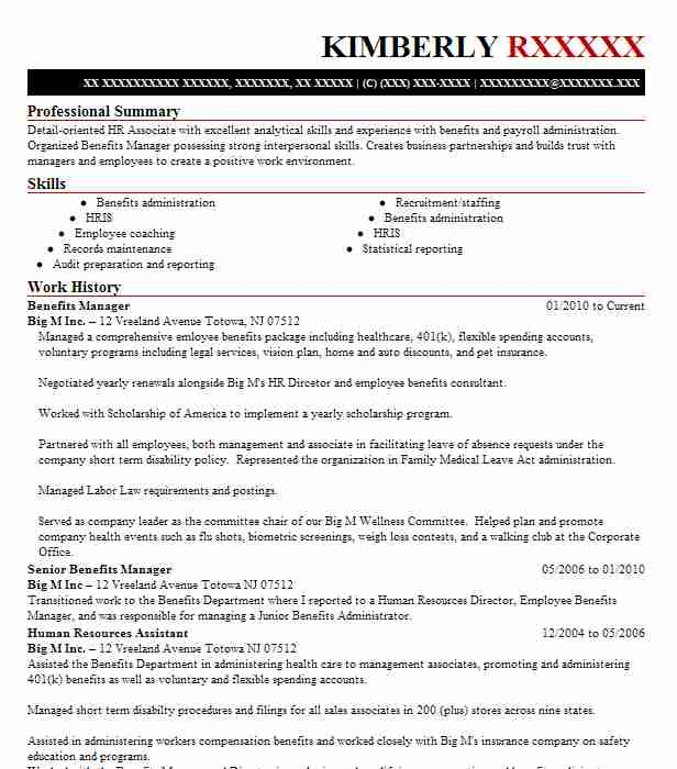 benefits manager resume example peacehealth portland pastry chef template universal Resume Benefits Manager Resume