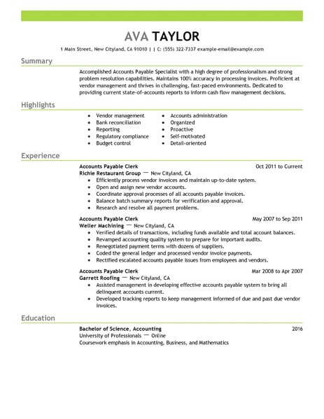 best accounts payable specialist resume example livecareer accounting finance emphasis Resume Best Accounts Payable Resume