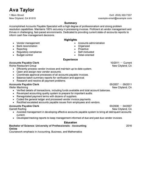 best accounts payable specialist resume example livecareer accounting finance space saver Resume Best Accounts Payable Resume